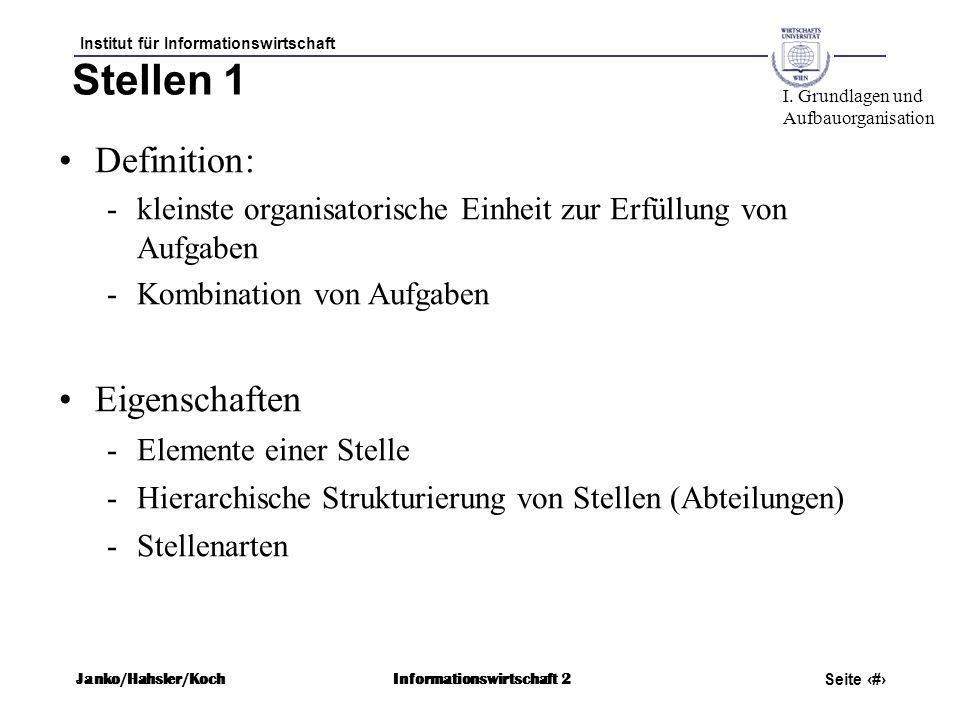 Institut für Informationswirtschaft Seite 33 Janko/Hahsler/KochInformationswirtschaft 2 Stellen 1 Definition: -kleinste organisatorische Einheit zur E