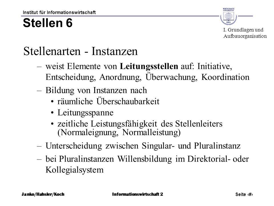 Institut für Informationswirtschaft Seite 37 Janko/Hahsler/KochInformationswirtschaft 2 Stellen 6 Stellenarten - Instanzen –weist Elemente von Leitung