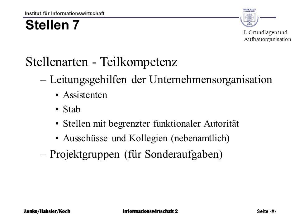 Institut für Informationswirtschaft Seite 38 Janko/Hahsler/KochInformationswirtschaft 2 Stellen 7 Stellenarten - Teilkompetenz –Leitungsgehilfen der U