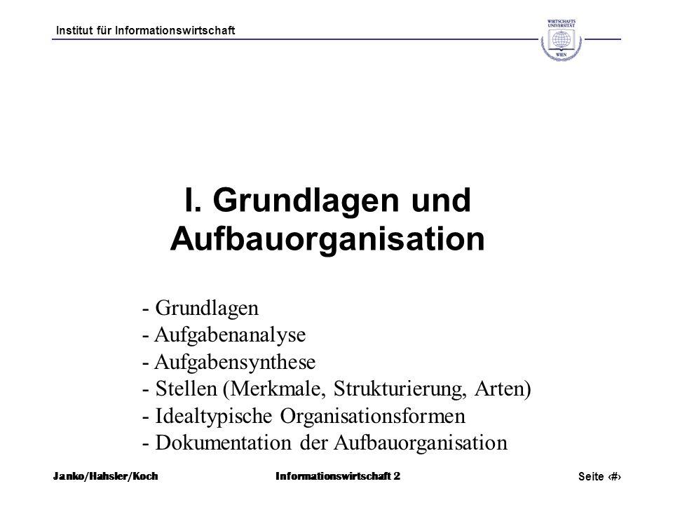Institut für Informationswirtschaft Seite 4 Janko/Hahsler/KochInformationswirtschaft 2 I. Grundlagen und Aufbauorganisation - Grundlagen - Aufgabenana