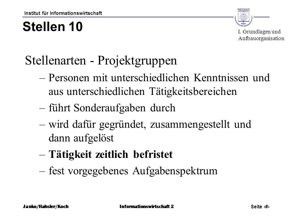 Institut für Informationswirtschaft Seite 41 Janko/Hahsler/KochInformationswirtschaft 2 Stellen 10 Stellenarten - Projektgruppen –Personen mit untersc