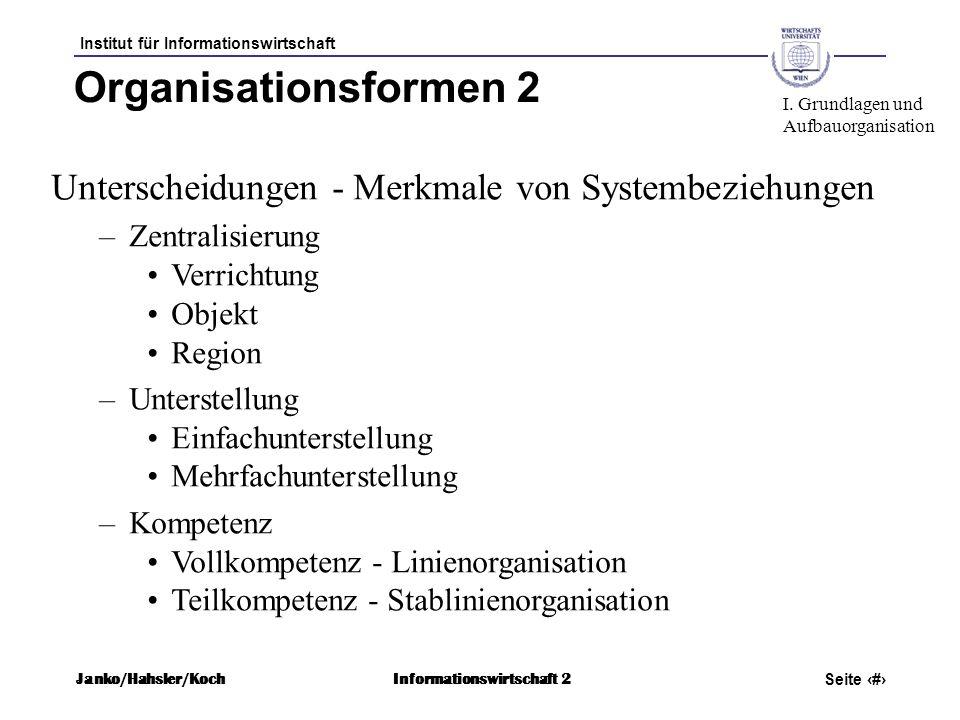Institut für Informationswirtschaft Seite 43 Janko/Hahsler/KochInformationswirtschaft 2 Organisationsformen 2 Unterscheidungen - Merkmale von Systembe