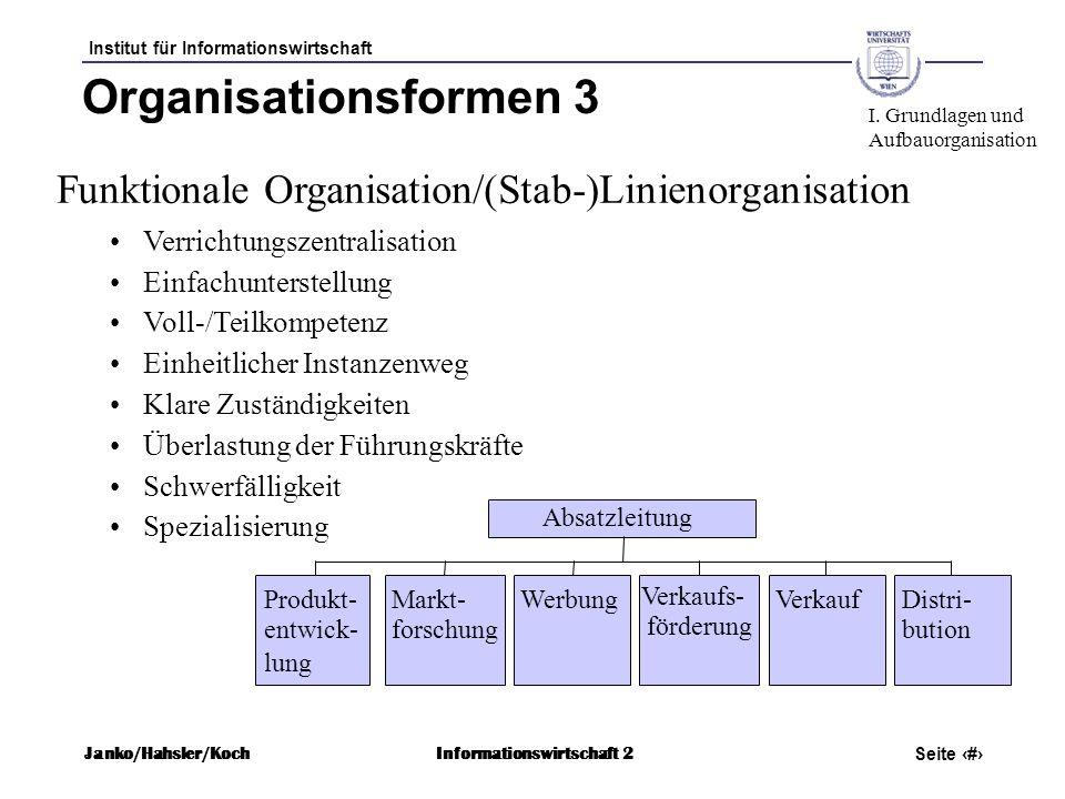 Institut für Informationswirtschaft Seite 44 Janko/Hahsler/KochInformationswirtschaft 2 Organisationsformen 3 Funktionale Organisation/(Stab-)Linienor