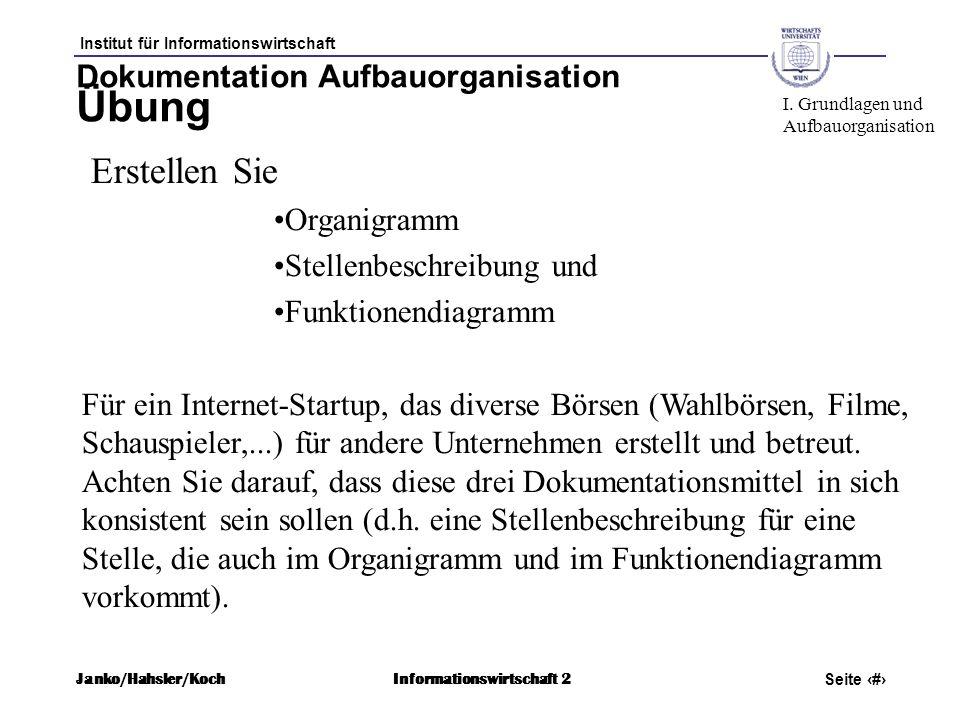 Institut für Informationswirtschaft Seite 59 Janko/Hahsler/KochInformationswirtschaft 2 Dokumentation Aufbauorganisation Übung Erstellen Sie Organigra