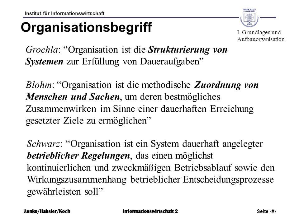 Institut für Informationswirtschaft Seite 6 Janko/Hahsler/KochInformationswirtschaft 2 Organisationsbegriff I. Grundlagen und Aufbauorganisation Schwa