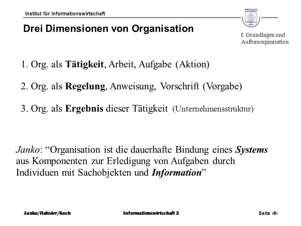 Institut für Informationswirtschaft Seite 7 Janko/Hahsler/KochInformationswirtschaft 2 Drei Dimensionen von Organisation 1. Org. als Tätigkeit, Arbeit