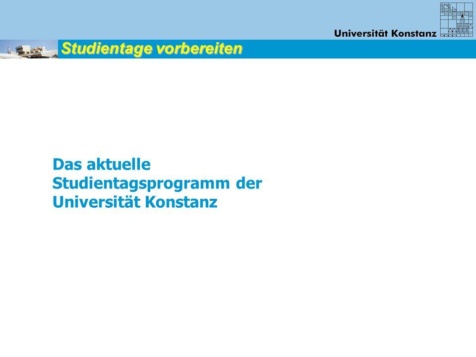 Vorbereiten lassen: Jeder Schüler wählt 2 Neigungsgruppen aus dem Studientagsprogramm zum Beispiel: 1.