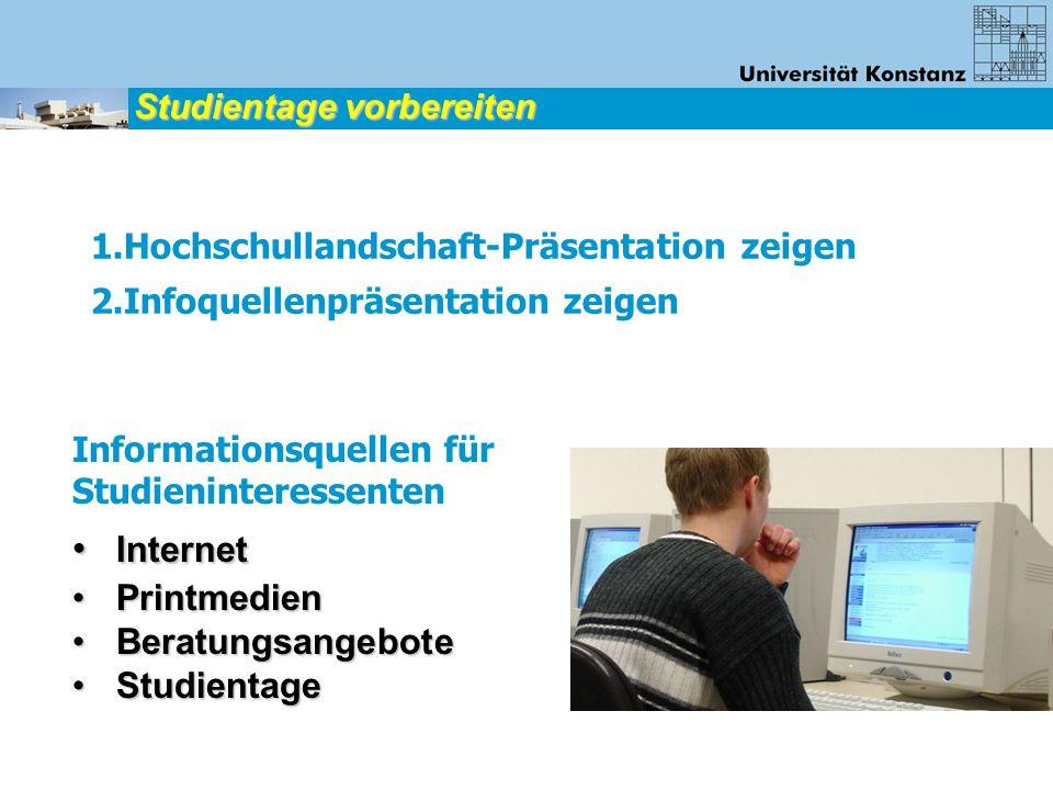 1.Hochschullandschaft-Präsentation zeigen 2.Infoquellenpräsentation zeigen Studientage vorbereiten Informationsquellen für Studieninteressenten Intern