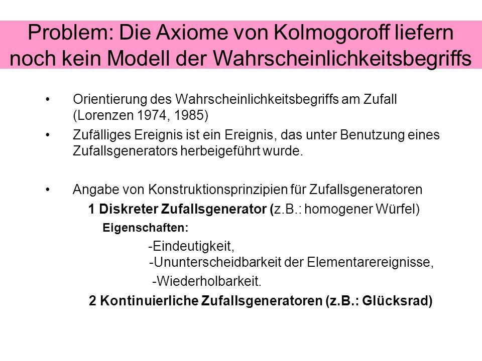 Orientierung des Wahrscheinlichkeitsbegriffs am Zufall (Lorenzen 1974, 1985) Zufälliges Ereignis ist ein Ereignis, das unter Benutzung eines Zufallsge