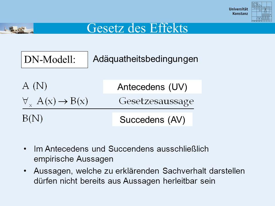Gesetz des Effekts DN-Modell: Adäquatheitsbedingungen Im Antecedens und Succendens ausschließlich empirische Aussagen Aussagen, welche zu erklärenden