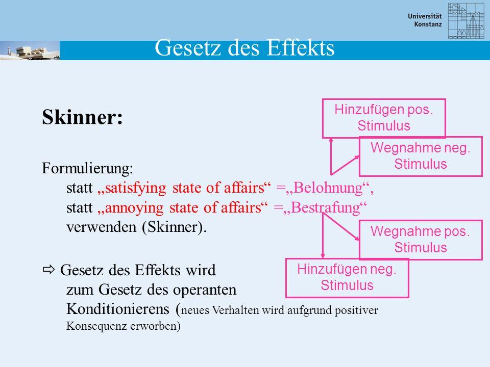 Formulierung: statt satisfying state of affairs =Belohnung, statt annoying state of affairs =Bestrafung verwenden (Skinner). Gesetz des Effekts wird z