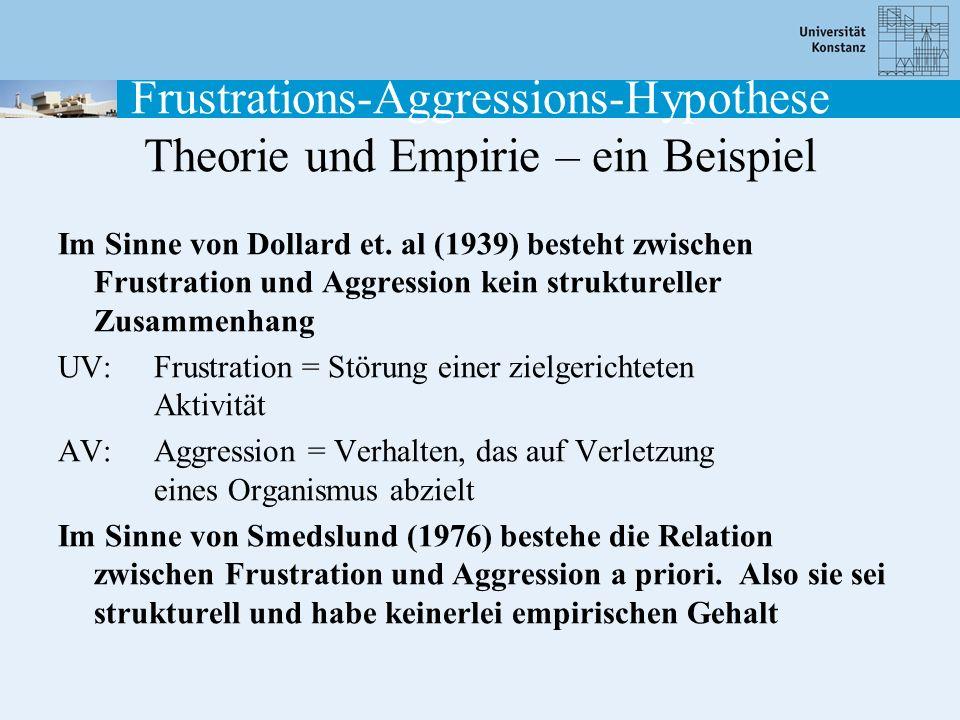 Frustrations-Aggressions-Hypothese Theorie und Empirie – ein Beispiel Im Sinne von Dollard et. al (1939) besteht zwischen Frustration und Aggression k