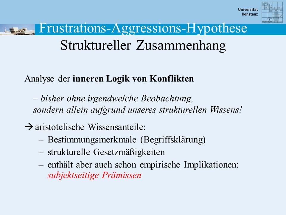 Frustrations-Aggressions-Hypothese Struktureller Zusammenhang Analyse der inneren Logik von Konflikten aristotelische Wissensanteile: –Bestimmungsmerk
