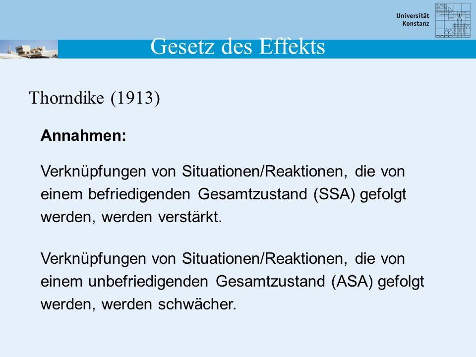 Gesetz des Effekts Thorndike (1913) Verknüpfungen von Situationen/Reaktionen, die von einem befriedigenden Gesamtzustand (SSA) gefolgt werden, werden