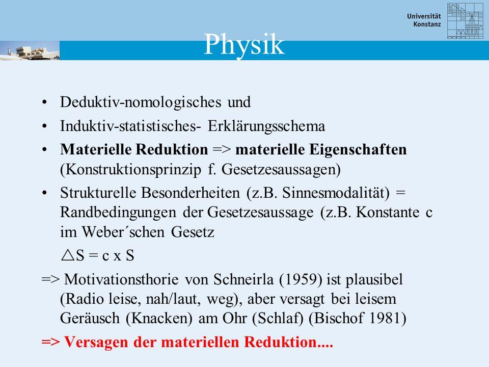 Deduktiv-nomologisches und Induktiv-statistisches- Erklärungsschema Materielle Reduktion => materielle Eigenschaften (Konstruktionsprinzip f. Gesetzes
