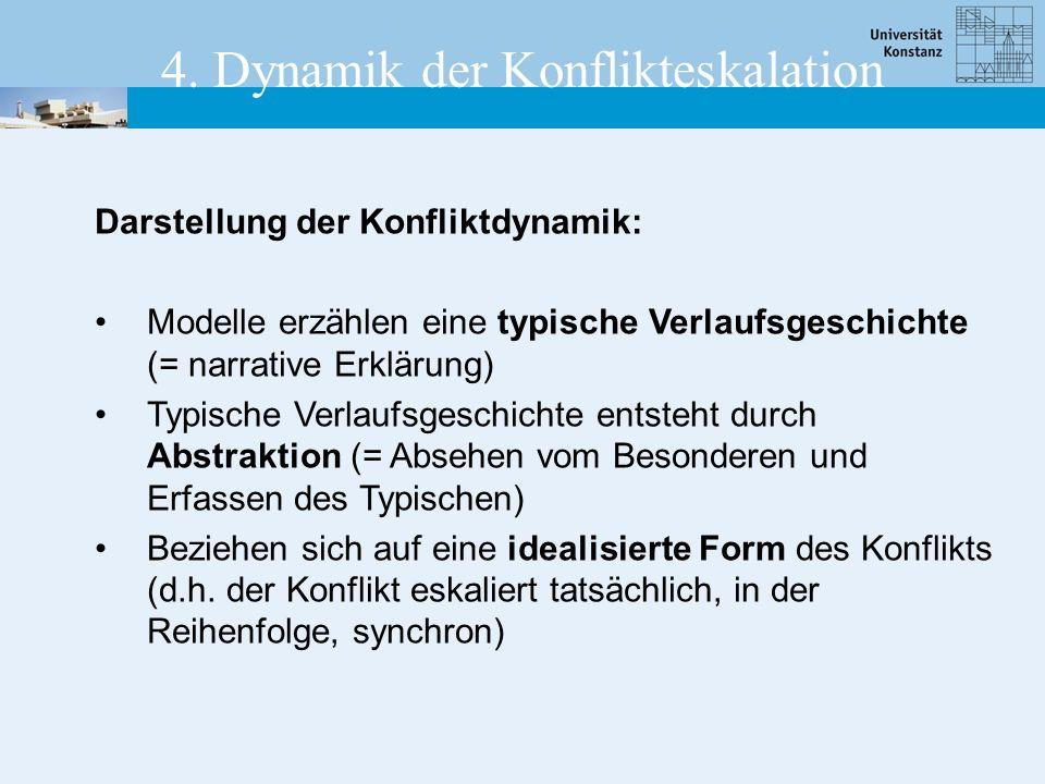 Darstellung der Konfliktdynamik: Modelle erzählen eine typische Verlaufsgeschichte (= narrative Erklärung) Typische Verlaufsgeschichte entsteht durch Abstraktion (= Absehen vom Besonderen und Erfassen des Typischen) Beziehen sich auf eine idealisierte Form des Konflikts (d.h.
