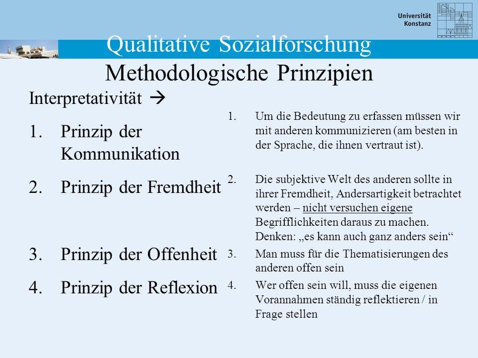 Qualitative Sozialforschung Methodologische Prinzipien Interpretativität 1.Prinzip der Kommunikation 2.Prinzip der Fremdheit 3.Prinzip der Offenheit 4.Prinzip der Reflexion 1.Um die Bedeutung zu erfassen müssen wir mit anderen kommunizieren (am besten in der Sprache, die ihnen vertraut ist).