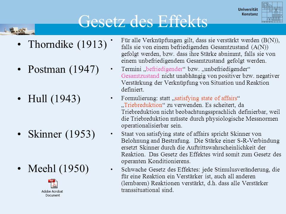 Gesetz des Effekts Thorndike (1913) Postman (1947) Hull (1943) Skinner (1953) Meehl (1950) Für alle Verknüpfungen gilt, dass sie verstärkt werden (B(N)), falls sie von einem befriedigenden Gesamtzustand (A(N)) gefolgt werden, bzw.
