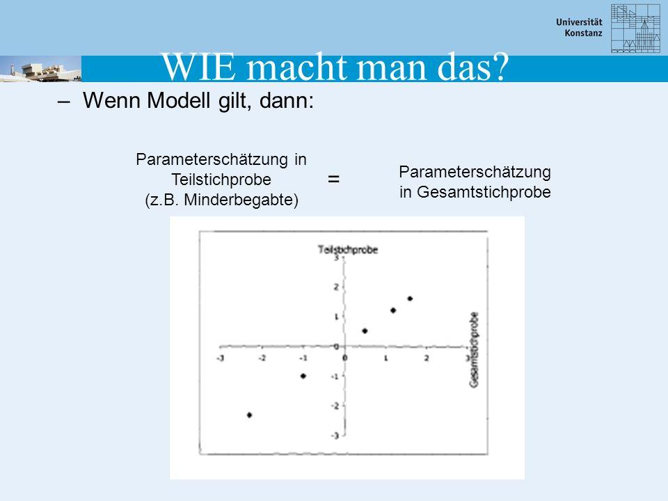 WIE macht man das? –Wenn Modell gilt, dann: Parameterschätzung in Teilstichprobe (z.B. Minderbegabte) Parameterschätzung in Gesamtstichprobe =
