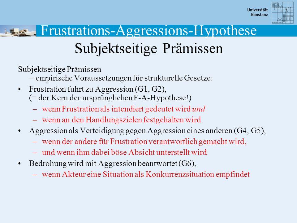 Frustrations-Aggressions-Hypothese Subjektseitige Prämissen Subjektseitige Prämissen = empirische Voraussetzungen für strukturelle Gesetze: Frustratio