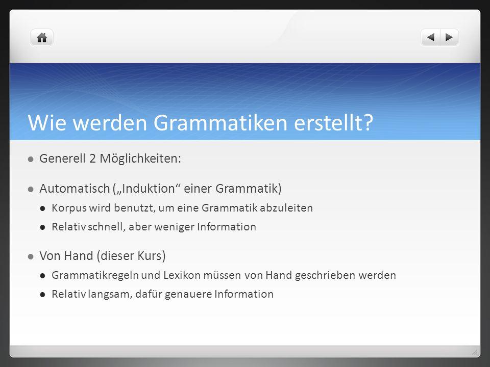 Wie werden Grammatiken erstellt? Generell 2 Möglichkeiten: Automatisch (Induktion einer Grammatik) Korpus wird benutzt, um eine Grammatik abzuleiten R