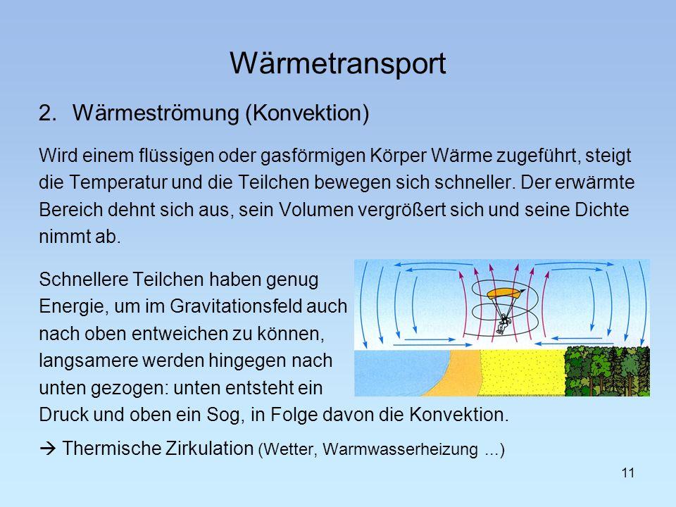 Wärmetransport 2.Wärmeströmung (Konvektion) Wird einem flüssigen oder gasförmigen Körper Wärme zugeführt, steigt die Temperatur und die Teilchen beweg