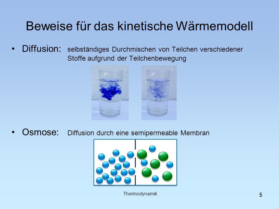 Beweise für das kinetische Wärmemodell Diffusion: selbständiges Durchmischen von Teilchen verschiedener Stoffe aufgrund der Teilchenbewegung Osmose: D