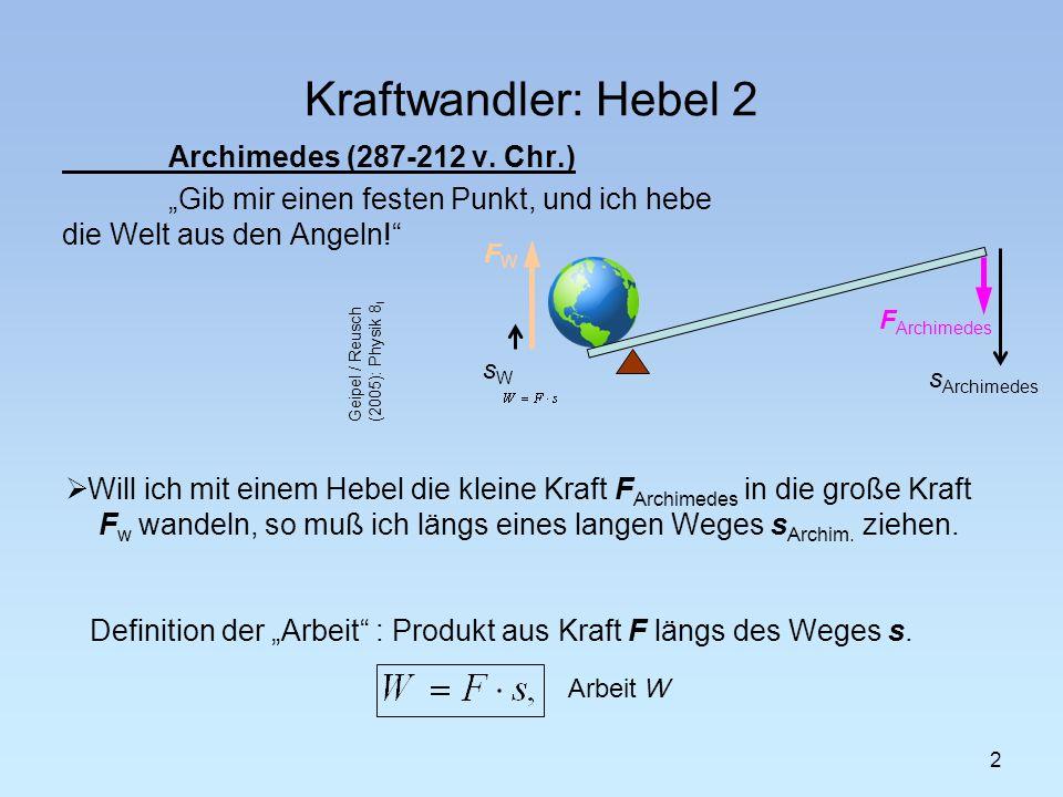 Kraftwandler: Hebel 2 Archimedes (287-212 v. Chr.) Gib mir einen festen Punkt, und ich hebe die Welt aus den Angeln! 2 Will ich mit einem Hebel die kl