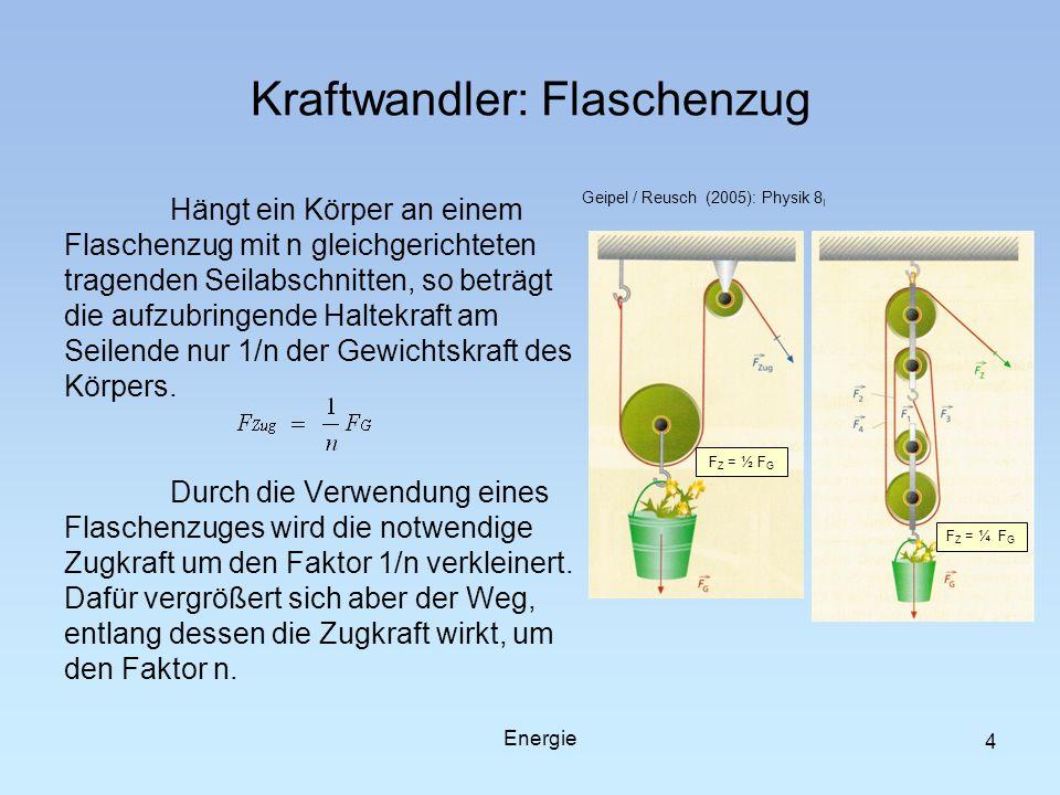 Kraftwandler: Flaschenzug Hängt ein Körper an einem Flaschenzug mit n gleichgerichteten tragenden Seilabschnitten, so beträgt die aufzubringende Halte