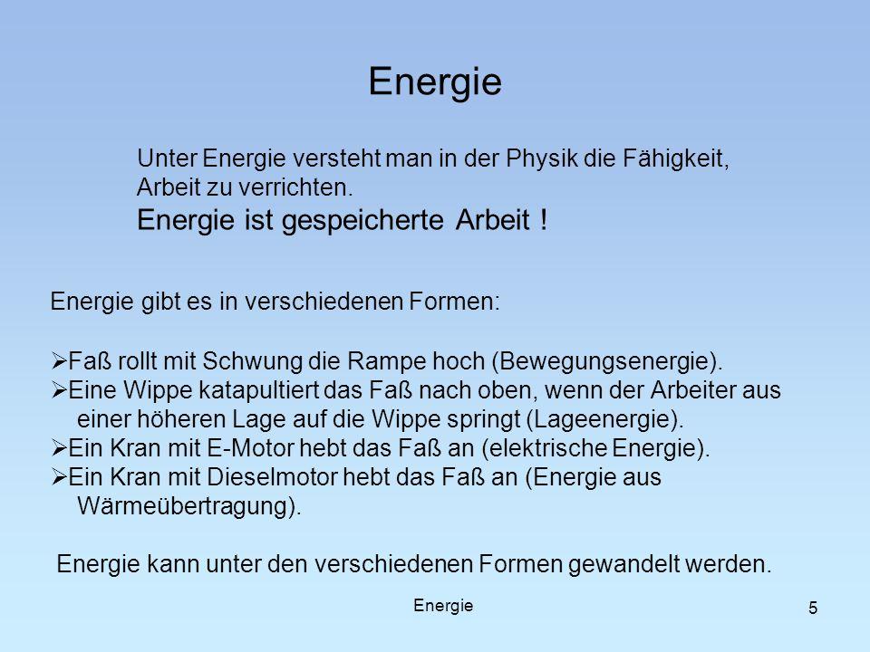 Energie Unter Energie versteht man in der Physik die Fähigkeit, Arbeit zu verrichten. Energie ist gespeicherte Arbeit ! Energie gibt es in verschieden