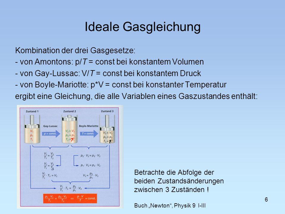 Kombination der drei Gasgesetze: - von Amontons: p/T = const bei konstantem Volumen - von Gay-Lussac: V/T = const bei konstantem Druck - von Boyle-Mar