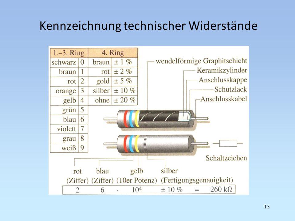Kennzeichnung technischer Widerstände 13