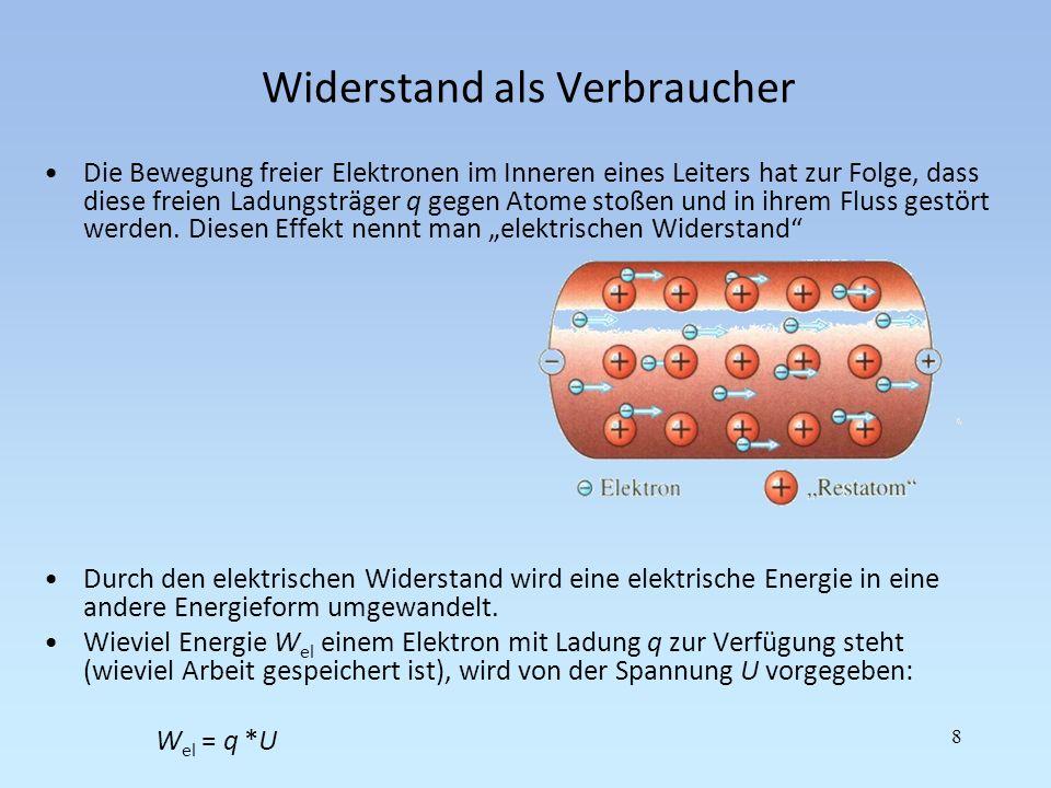 Widerstandsdefinition Es gilt:W el / Q = U, oder pro Zeiteinheit t betrachtet: (W el /t) / (Q/t) = U = P / I (Leistung P und Strom I) Definition: Der Widerstand ist das Verhältnis zwischen der Spannung an einem Verbraucher und dem Strom, der längs der Spannungsrichtung durch den Verbraucher fließt.