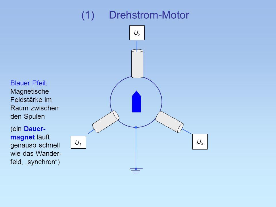 (1)Drehstrom-Motor U2U2 U3U3 U1U1 Blauer Pfeil: Magnetische Feldstärke im Raum zwischen den Spulen (ein Dauer- magnet läuft genauso schnell wie das Wa