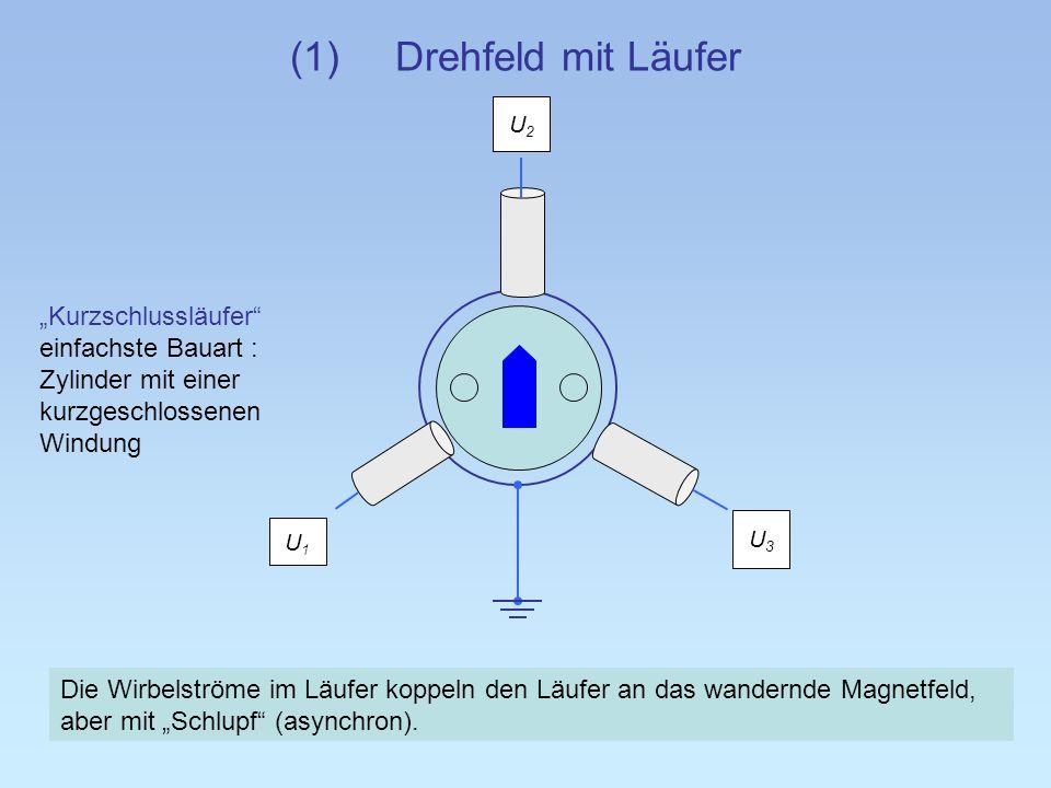 (1)Drehfeld mit Läufer U2U2 Die Wirbelströme im Läufer koppeln den Läufer an das wandernde Magnetfeld, aber mit Schlupf (asynchron). U3U3 U1U1 Kurzsch