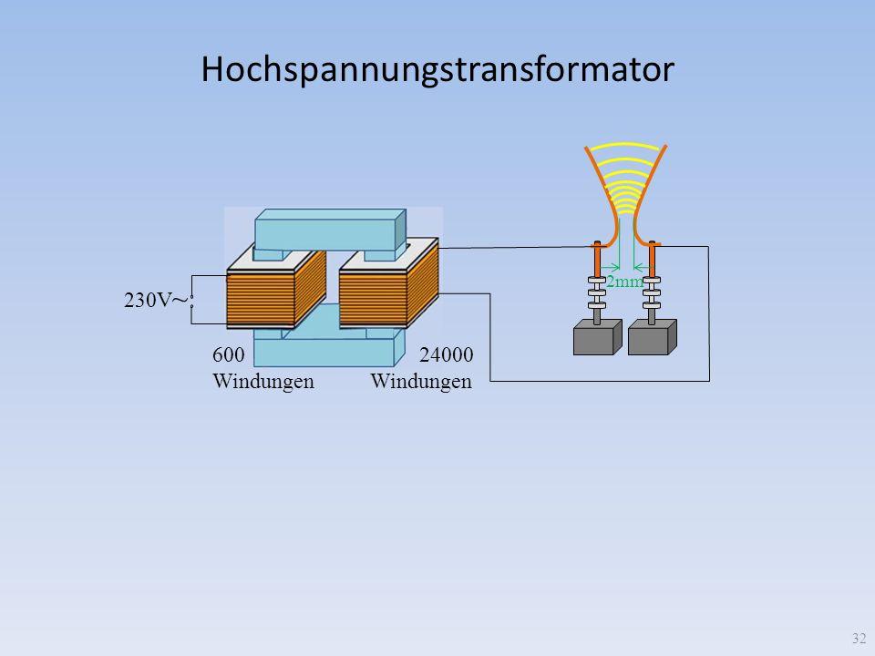 Hochspannungstransformator 230V ~ 600 Windungen 24000 Windungen 32 2mm