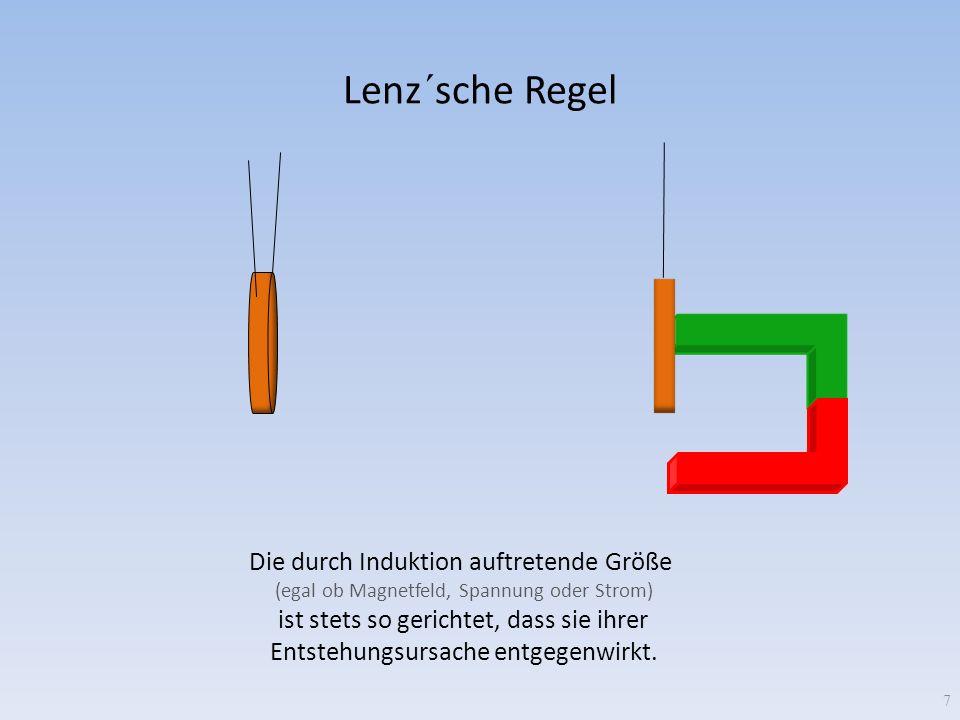 Lenz´sche Regel 7 Die durch Induktion auftretende Größe (egal ob Magnetfeld, Spannung oder Strom) ist stets so gerichtet, dass sie ihrer Entstehungsur