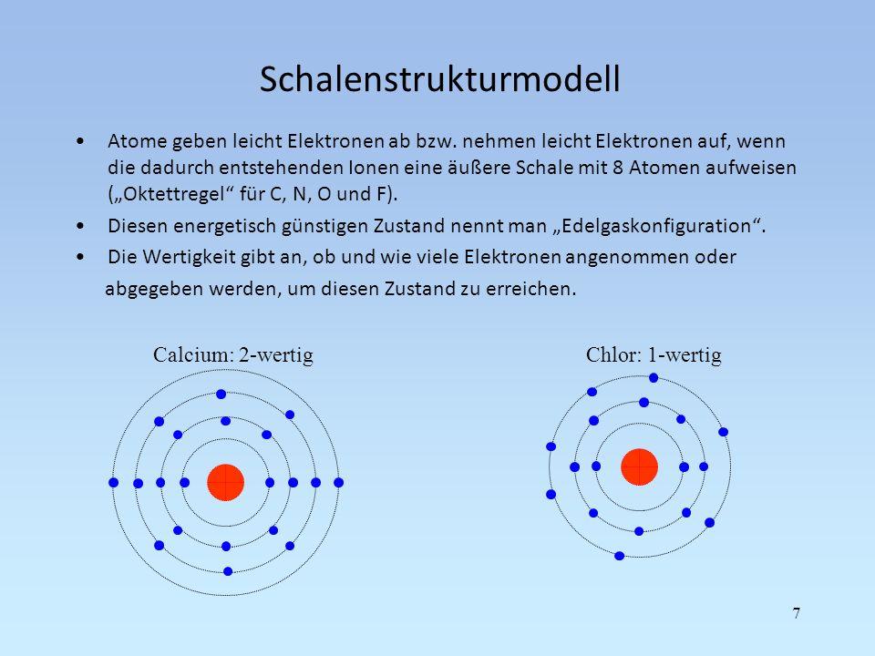 Schalenstrukturmodell Atome geben leicht Elektronen ab bzw. nehmen leicht Elektronen auf, wenn die dadurch entstehenden Ionen eine äußere Schale mit 8