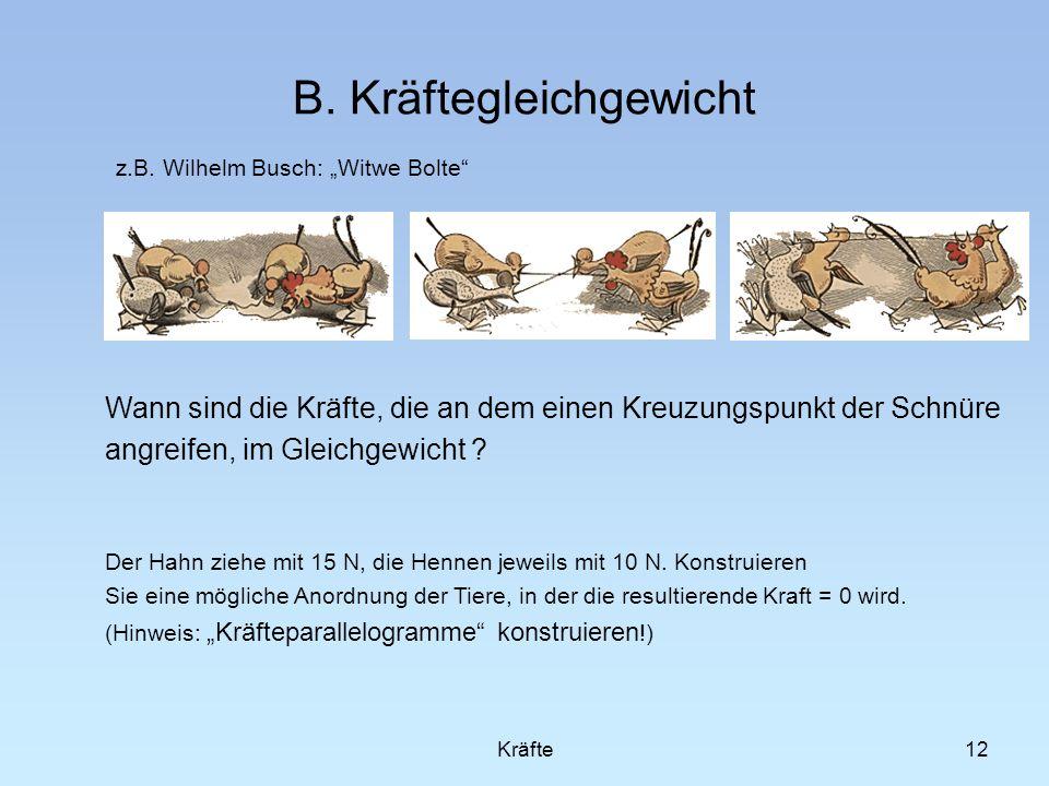 12 B. Kräftegleichgewicht z.B. Wilhelm Busch: Witwe Bolte Kräfte Wann sind die Kräfte, die an dem einen Kreuzungspunkt der Schnüre angreifen, im Gleic