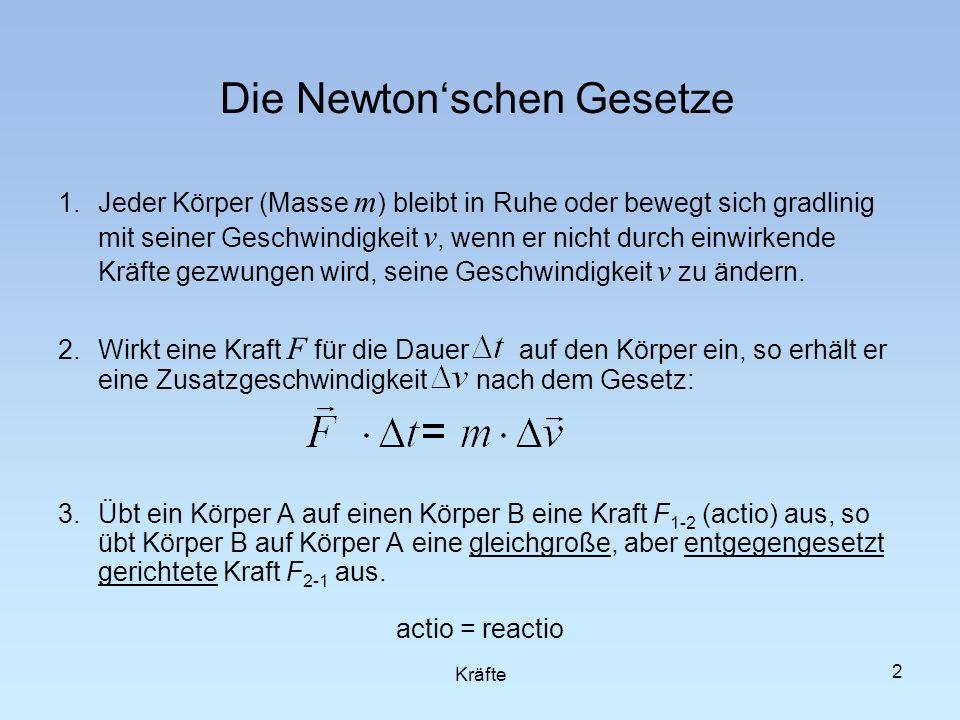 2 Die Newtonschen Gesetze 1.Jeder Körper (Masse m ) bleibt in Ruhe oder bewegt sich gradlinig mit seiner Geschwindigkeit v, wenn er nicht durch einwir