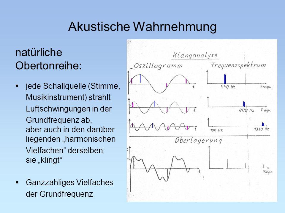 Akustische Wahrnehmung natürliche Obertonreihe: Akustik 13 jede Schallquelle (Stimme, Musikinstrument) strahlt Luftschwingungen in der Grundfrequenz a