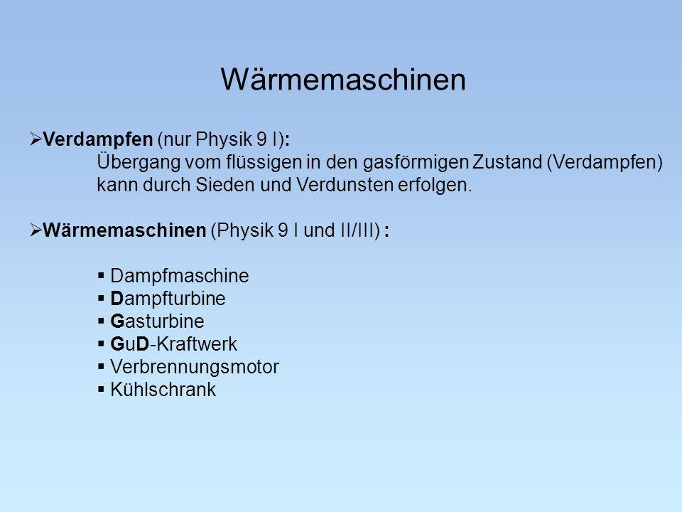 Wärmemaschinen Verdampfen (nur Physik 9 I): Übergang vom flüssigen in den gasförmigen Zustand (Verdampfen) kann durch Sieden und Verdunsten erfolgen.