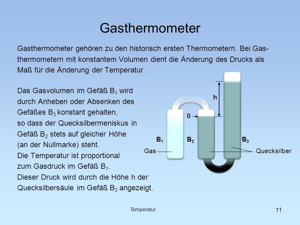 Gasthermometer Gasthermometer gehören zu den historisch ersten Thermometern. Bei Gas- thermometern mit konstantem Volumen dient die Änderung des Druck