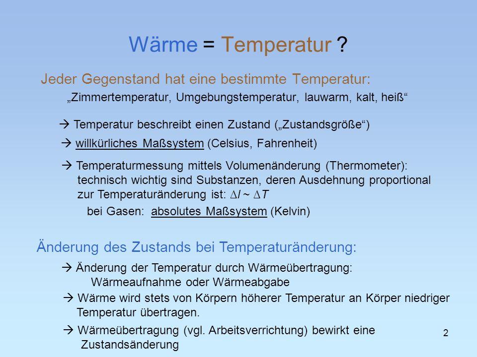 Wärme = Temperatur ? Jeder Gegenstand hat eine bestimmte Temperatur: Zimmertemperatur, Umgebungstemperatur, lauwarm, kalt, heiß Temperatur beschreibt