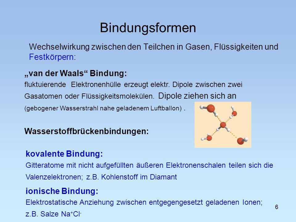 Bindungsformen Wechselwirkung zwischen den Teilchen in Gasen, Flüssigkeiten und Festkörpern: van der Waals Bindung: fluktuierende Elektronenhülle erze