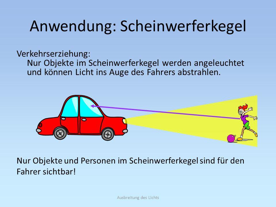 Ausbreitung des Lichts Anwendung: Scheinwerferkegel Verkehrserziehung: Nur Objekte im Scheinwerferkegel werden angeleuchtet und können Licht ins Auge