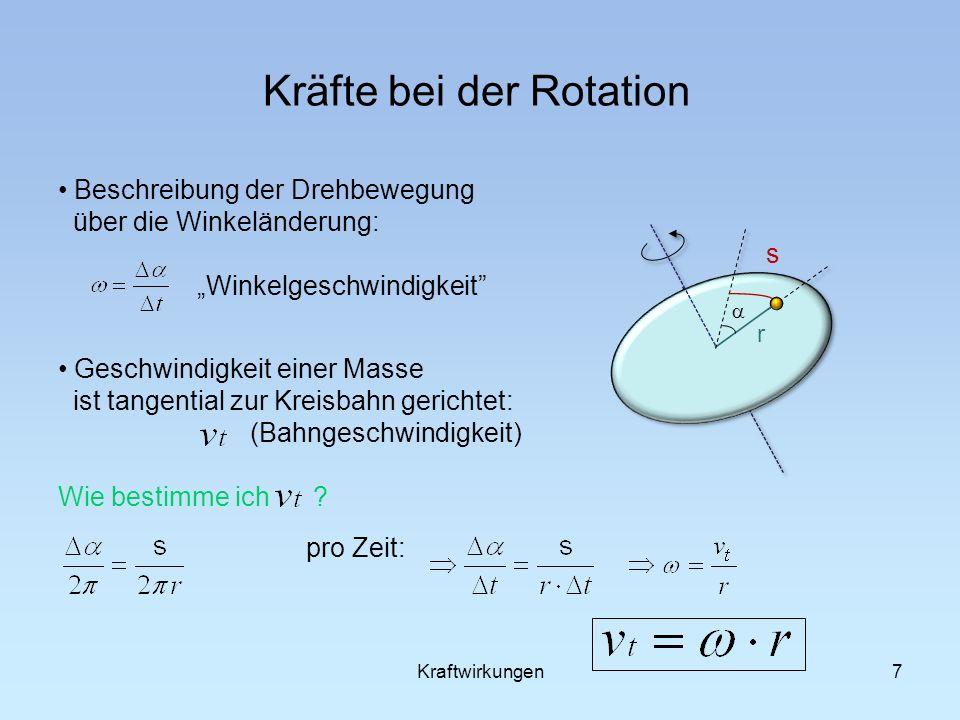 7 Kräfte bei der Rotation Beschreibung der Drehbewegung über die Winkeländerung: Winkelgeschwindigkeit Geschwindigkeit einer Masse ist tangential zur Kreisbahn gerichtet: (Bahngeschwindigkeit) Wie bestimme ich .