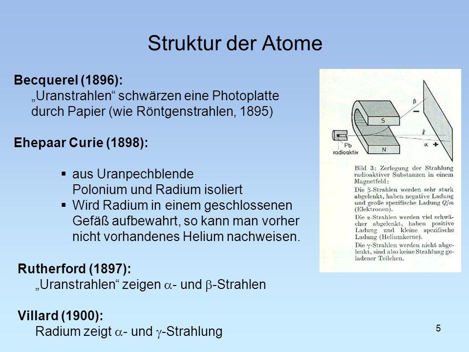 5 Struktur der Atome Becquerel (1896): Uranstrahlen schwärzen eine Photoplatte durch Papier (wie Röntgenstrahlen, 1895) Ehepaar Curie (1898): aus Uran
