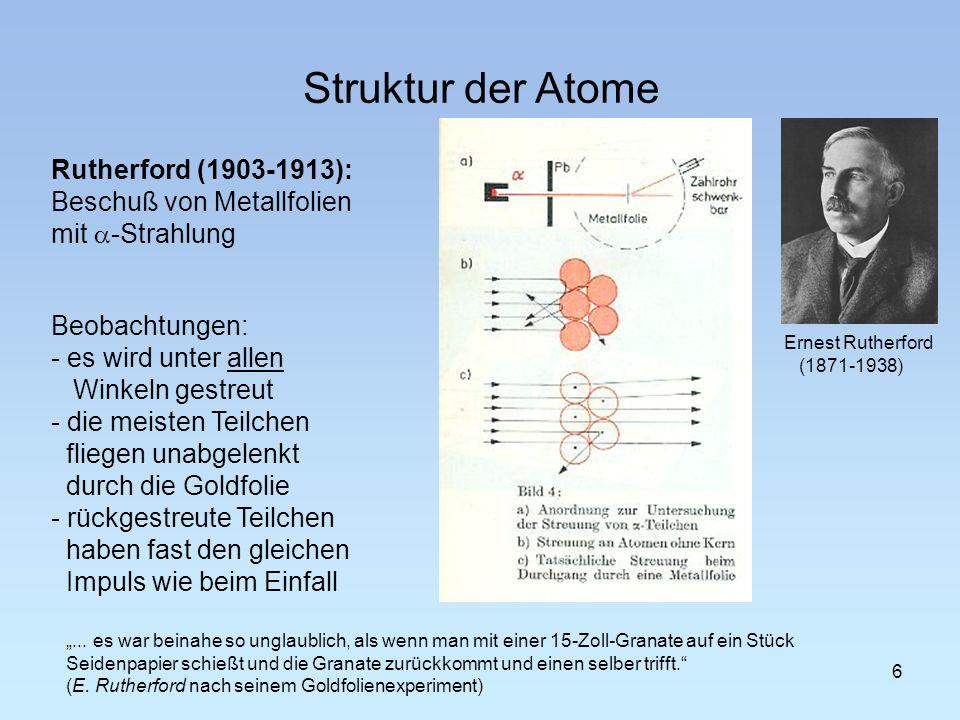 - fast die gesamte Masse der Atome ist in einem Atomkern konzentriert.