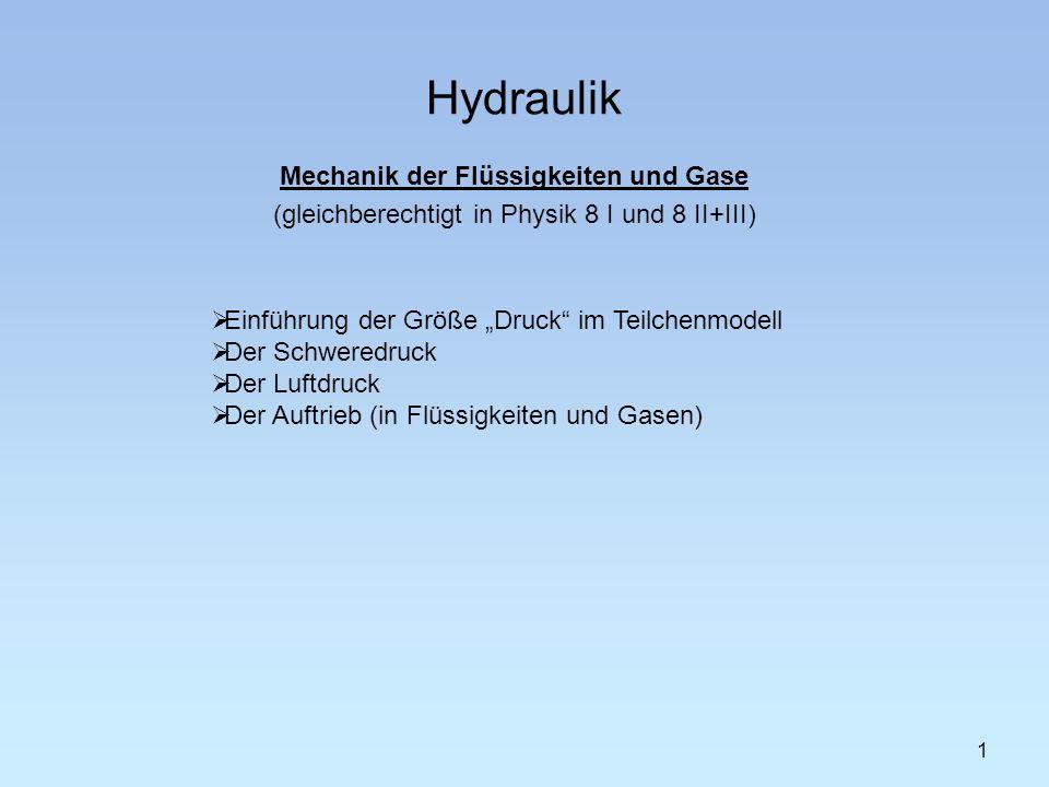 Hydraulik 1 Mechanik der Flüssigkeiten und Gase (gleichberechtigt in Physik 8 I und 8 II+III) Einführung der Größe Druck im Teilchenmodell Der Schweredruck Der Luftdruck Der Auftrieb (in Flüssigkeiten und Gasen)